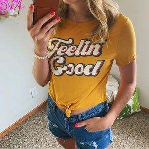 Gaze Mustard Yellow Feelin Good Graphic Tee